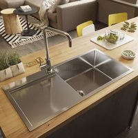 900*450*220 Stainless Steel single bowl w/ drainer board topmount drop in kitchen sink/ Lead free