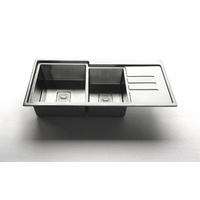 Radius 8mm New double bowls stainless steel kitchen sinks top mounted drain / Lead-free IN & OUT