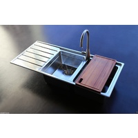 Stainless Steel kitchen sink 2 Bowls with chaneled drainer