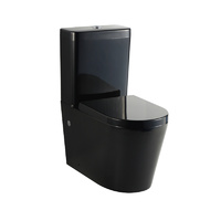 Black Wall faced / Close Coupled Toilet Suite Hard Resin Seat
