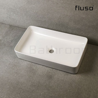 605*350*110mm Matte white Above Counter Top Porcelain Basin Bathroom Vanity