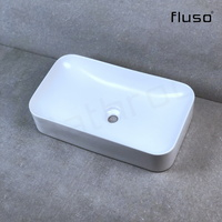 600*345*135 mm Matte white Above Counter Top Porcelain Basin Bathroom Vanity